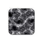 Tropical leafs pattern, black and white jungle theme Rubber Coaster (Square)