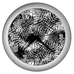 Tropical leafs pattern, black and white jungle theme Wall Clock (Silver)