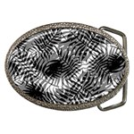 Tropical leafs pattern, black and white jungle theme Belt Buckles