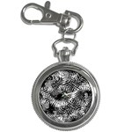 Tropical leafs pattern, black and white jungle theme Key Chain Watches