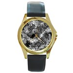Tropical leafs pattern, black and white jungle theme Round Gold Metal Watch