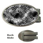 Tropical leafs pattern, black and white jungle theme Money Clips (Oval)