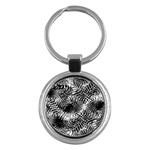 Tropical leafs pattern, black and white jungle theme Key Chain (Round)