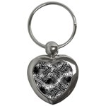 Tropical leafs pattern, black and white jungle theme Key Chain (Heart)