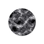 Tropical leafs pattern, black and white jungle theme Rubber Coaster (Round)