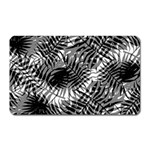 Tropical leafs pattern, black and white jungle theme Magnet (Rectangular)
