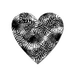 Tropical leafs pattern, black and white jungle theme Heart Magnet