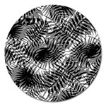 Tropical leafs pattern, black and white jungle theme Magnet 5  (Round)