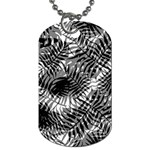 Tropical leafs pattern, black and white jungle theme Dog Tag (Two Sides)