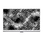 Tropical leafs pattern, black and white jungle theme Business Card Holder
