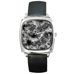 Tropical leafs pattern, black and white jungle theme Square Metal Watch