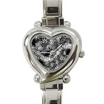 Tropical leafs pattern, black and white jungle theme Heart Italian Charm Watch