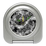 Tropical leafs pattern, black and white jungle theme Travel Alarm Clock