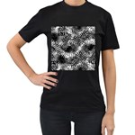 Tropical leafs pattern, black and white jungle theme Women s T-Shirt (Black) (Two Sided)