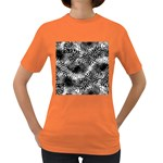 Tropical leafs pattern, black and white jungle theme Women s Dark T-Shirt