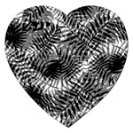 Tropical leafs pattern, black and white jungle theme Jigsaw Puzzle (Heart)