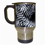 Tropical leafs pattern, black and white jungle theme Travel Mugs (White)