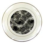 Tropical leafs pattern, black and white jungle theme Porcelain Plates