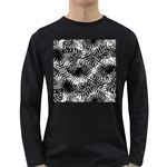Tropical leafs pattern, black and white jungle theme Long Sleeve Dark T-Shirt