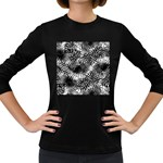 Tropical leafs pattern, black and white jungle theme Women s Long Sleeve Dark T-Shirt