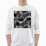 Tropical leafs pattern, black and white jungle theme Long Sleeve T-Shirt