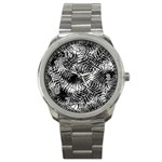 Tropical leafs pattern, black and white jungle theme Sport Metal Watch