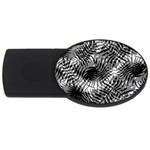Tropical leafs pattern, black and white jungle theme USB Flash Drive Oval (4 GB)