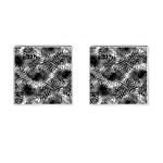Tropical leafs pattern, black and white jungle theme Cufflinks (Square)