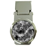 Tropical leafs pattern, black and white jungle theme Money Clip Watches