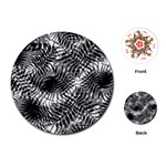 Tropical leafs pattern, black and white jungle theme Playing Cards Single Design (Round)