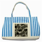 Tropical leafs pattern, black and white jungle theme Striped Blue Tote Bag