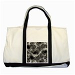 Tropical leafs pattern, black and white jungle theme Two Tone Tote Bag