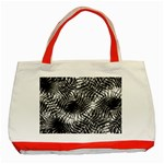 Tropical leafs pattern, black and white jungle theme Classic Tote Bag (Red)