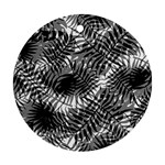 Tropical leafs pattern, black and white jungle theme Round Ornament (Two Sides)
