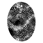 Tropical leafs pattern, black and white jungle theme Oval Ornament (Two Sides)