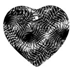 Tropical leafs pattern, black and white jungle theme Heart Ornament (Two Sides)