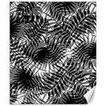 Tropical leafs pattern, black and white jungle theme Canvas 8  x 10