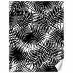 Tropical leafs pattern, black and white jungle theme Canvas 12  x 16