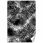 Tropical leafs pattern, black and white jungle theme Canvas 12  x 18