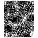 Tropical leafs pattern, black and white jungle theme Canvas 16  x 20