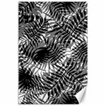 Tropical leafs pattern, black and white jungle theme Canvas 24  x 36
