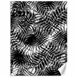 Tropical leafs pattern, black and white jungle theme Canvas 36  x 48