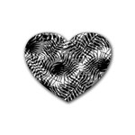 Tropical leafs pattern, black and white jungle theme Rubber Coaster (Heart)