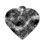 Tropical leafs pattern, black and white jungle theme Dog Tag Heart (Two Sides)