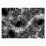 Tropical leafs pattern, black and white jungle theme Large Glasses Cloth