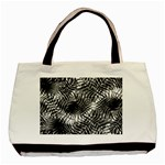 Tropical leafs pattern, black and white jungle theme Basic Tote Bag (Two Sides)