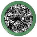 Tropical leafs pattern, black and white jungle theme Color Wall Clock