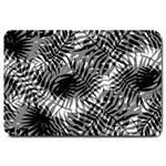 Tropical leafs pattern, black and white jungle theme Large Doormat