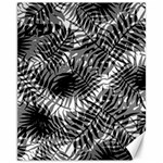 Tropical leafs pattern, black and white jungle theme Canvas 11  x 14