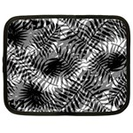 Tropical leafs pattern, black and white jungle theme Netbook Case (Large)